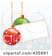 Royalty Free RF Clipart Illustration Of Polka Dot And Green Christmas Baubles With A Blank Label Over Snowflakes On Gray