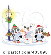 Royalty Free RF Clipart Illustration Of A Polar Bear Singing Christmas Carols In The Snow With Two Penguins