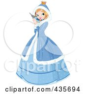 Royalty Free RF Clipart Illustration Of A Winter Princess Holding A Blue Bird by Pushkin