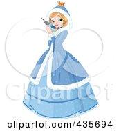 Winter Princess Holding A Blue Bird