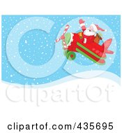 Royalty Free RF Clipart Illustration Of Santa In Flight In A Biplane Over Snowy Hills