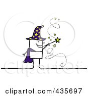 Royalty Free RF Clipart Illustration Of A Stick Wizard Waving A Magic Wand