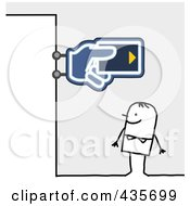 Royalty Free RF Clipart Illustration Of A Stick Man Standing Under A Bank Sign
