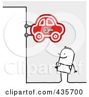 Royalty Free RF Clipart Illustration Of A Stick Man Standing Under A Car Sign