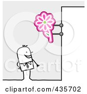 Royalty Free RF Clipart Illustration Of A Stick Man Standing Under A Florist Sign