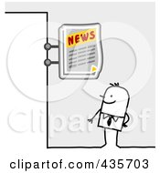 Royalty Free RF Clipart Illustration Of A Stick Man Standing Under A News Sign