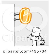 Royalty Free RF Clipart Illustration Of A Stick Man Standing Under A Cheese Sign