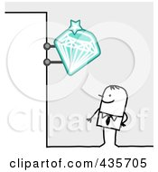 Royalty Free RF Clipart Illustration Of A Stick Man Standing Under A Jeweler Diamond Sign