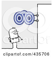Royalty Free RF Clipart Illustration Of A Stick Man Standing Under A Glasses Sign