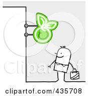 Royalty Free RF Clipart Illustration Of A Stick Man Standing Under An Apple Grocery Sign