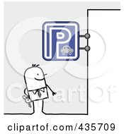 Royalty Free RF Clipart Illustration Of A Stick Man Standing Under A Parking Sign