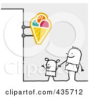 Royalty Free RF Clipart Illustration Of A Stick Man And Son Standing Under An Ice Cream Sign