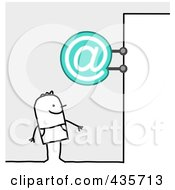 Royalty Free RF Clipart Illustration Of A Stick Man Standing Under An Email Sign