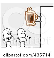 Royalty Free RF Clipart Illustration Of Stick Men Standing Under A Cafe Sign