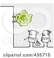 Royalty Free RF Clipart Illustration Of Two Stick Women Standing Under A Tea Sign