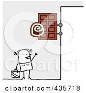 Royalty Free RF Clipart Illustration Of A Stick Man Standing Under A Chocolate Sign