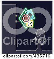 Royalty Free RF Clipart Illustration Of A Stick Man Standing Under A Casino Sign