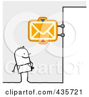 Royalty Free RF Clipart Illustration Of A Stick Man Standing Under A PO Box Sign