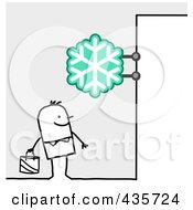 Royalty Free RF Clipart Illustration Of A Stick Man Standing Under A Snowflake Sign