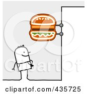 Royalty Free RF Clipart Illustration Of A Stick Man Standing Under A Hamburger Sign