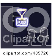 Royalty Free RF Clipart Illustration Of A Stick Couple Standing Under A Bar Sign