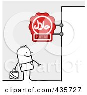 Royalty Free RF Clipart Illustration Of A Stick Man Standing Under A Halal Sign