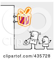 Royalty Free RF Clipart Illustration Of A Stick Woman And Son Standing Under A Gift Sign by NL shop