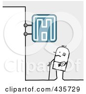 Royalty Free RF Clipart Illustration Of A Stick Man Standing Under A Hospital Sign