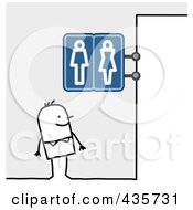 Royalty Free RF Clipart Illustration Of A Stick Man Standing Under Restroom Signs