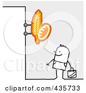 Royalty Free RF Clipart Illustration Of A Stick Man Standing Under A Bakery Sign