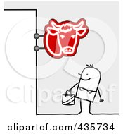 Royalty Free RF Clipart Illustration Of A Stick Man Standing Under A Butcher Shop Sign