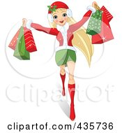 Royalty Free RF Clipart Illustration Of A Pretty Blond Woman Holding Up Christmas Shopping Bags by Pushkin