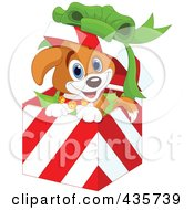 Royalty Free RF Clipart Illustration Of A Cute Christmas Puppy Popping Out Of A Gift Box