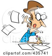Royalty Free RF Clipart Illustration Of A Fast Female Author Writing On Pages
