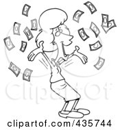 Royalty Free RF Clipart Illustration Of A Line Art Design Of A Happy Businesswoman With Falling Cash
