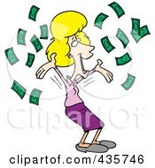 Royalty Free RF Clipart Illustration Of A Happy Blond Businesswoman With Falling Cash by toonaday