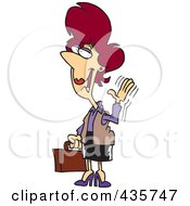 Royalty Free RF Clipart Illustration Of A Waving Businesswoman