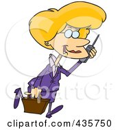 Royalty Free RF Clipart Illustration Of A Pleasant Blond Businesswoman Walking And Talking On A Cell Phone by Ron Leishman