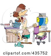 Royalty Free RF Clipart Illustration Of A Caucasian Woman At Her Wits End Trying To Work At Home With A Crying Baby