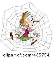 Royalty Free RF Clipart Illustration Of A Caucasian Businesswoman Caught In A Web by toonaday