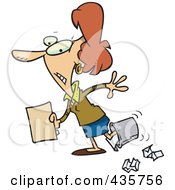 Royalty Free RF Clipart Illustration Of A Clumsy Caucasian Businesswoman Walking With Her Foot In A Trash Bin by toonaday