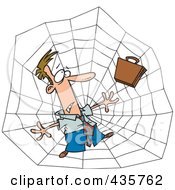 Royalty Free RF Clipart Illustration Of A Caucasian Businessman Caught In A Web