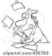 Royalty Free RF Clipart Illustration Of A Line Art Design Of A Businessman Speeding Through Paperwork