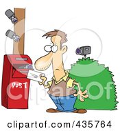 Royalty Free RF Clipart Illustration Of Security Cameras On A Man Putting A Letter In A Mail Box