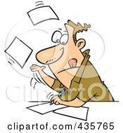 Royalty Free RF Clipart Illustration Of A Caucasian Businessman Speeding Through Paperwork