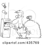 Royalty Free RF Clipart Illustration Of A Line Art Design Of Security Cameras On A Man Putting A Letter In A Mail Box