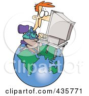 Royalty Free RF Clipart Illustration Of A Caucasian Businessman Working On A Computer Over A Globe