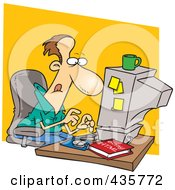 Royalty Free RF Clipart Illustration Of A Caucasian Businessman Learning HTML On A Computer by toonaday