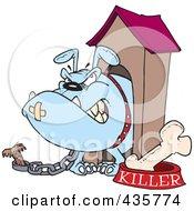 Aggressive Bulldog In His Dog House