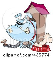Royalty Free RF Clipart Illustration Of An Aggressive Bulldog In His Dog House by toonaday